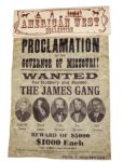 Replica James & Younger Gang Wanted Poster